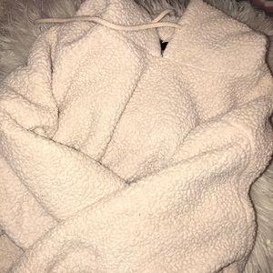 F21 teddy bear hoodied sweatshirt